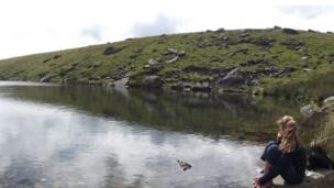 Stephen Bulpitt's daughter on the bank of Llyn-Ffynnon-y-gwas coming down the Snowdon Ranger path
