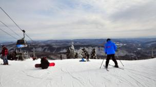 Skiers in Vermont