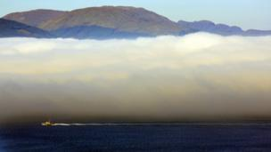 Low cloud over the Firth of Clyde