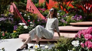 Blogger Naomi Harris during the press preview at the RHS Chelsea Flower Show