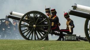King's Troop Artillery firing salute in Hyde Park