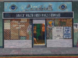 مغسلة ملابس، طريق بين جونسون، شرقي لندن عام 1983