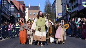 St Patrick greets his followers in Downpatrick