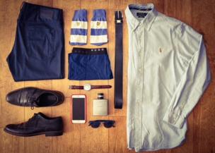 A flat lay of clothes