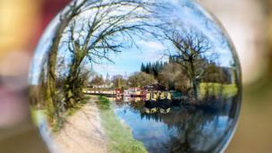 Goytre Wharf, taken through a globe