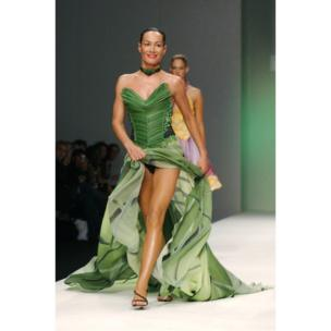 Tara Palmer-Tomkinson models a 'Cantonese Spring Onion' skirt and bodice on behalf of Walkers Crisps