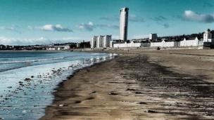 Meridian Tower, taken from Swansea Bay