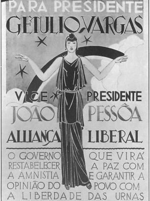 Cartaz eleitoral distribuído durante pleito que elegeu Getúlio Vargas, em 1930