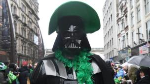 Star Wars villain Darth Vader showed his true colours at a St Patrick's Day parade in Belfast, Northern Ireland
