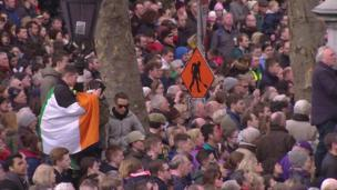 Many thousands lined the streets of Dublin for the commemorations