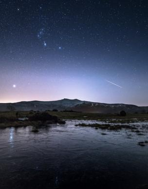 A meteor over the mountains of Wales.