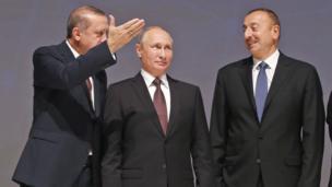 Recep Tayyip Erdoğan, Vladimir Putin, İlham Əliyev