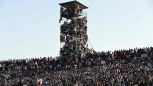 Supporters attend the African Cup of Nations qualification match between Egypt and Nigeria, on 25 March in Kaduna