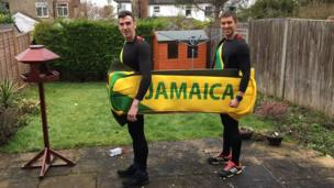 Runners in Jamaican bobsled costume