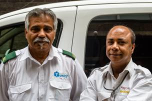 Khan (left) and Islam, Patient Transporters
