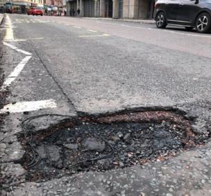 Pothole in Partick, Glasgow