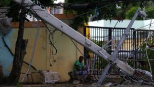 A fallen power pole in the aftermath of Hurricane Irma in Puerto Plata, Dominican Republic, September 8, 2017