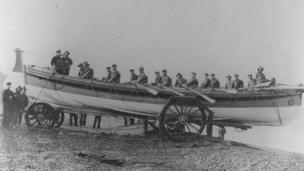 The JC Madge was launched in 1904 and continued in service until 1936. Rowed by 16 oars, she helped save 58 lives.