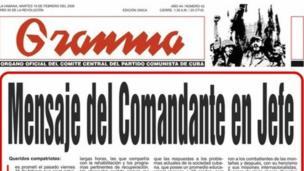 Imagem do jornal Gramma, a publicação oficial do partido comunista cubano