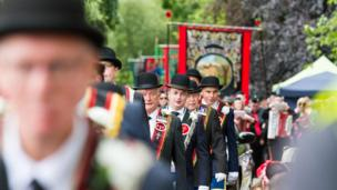 Royal Black Institution members on parade in Scarva
