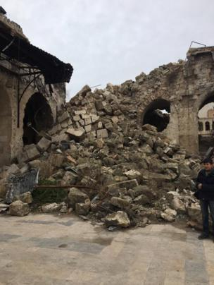 Remains of the destroyed minaret of the Umayyad mosque