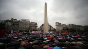 Protesta en el obelisco.