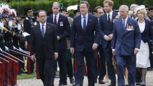 Francois Hollande, Prince William, David Cameron, Prince Harry and Prince Charles