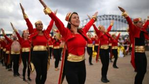 Members of the Sydney Opera House rehearse for the Sydney Gay and Lesbian Mardi Gras Parade, 2 March 2018
