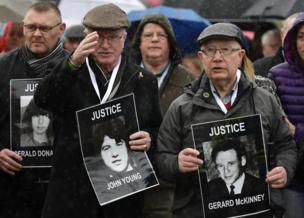 Families gathered outside The Museum of Free Derry, close to where the killings took place