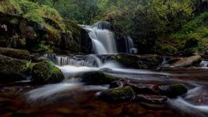 Waterfall at Talybont, Brecon Beacons, Powys