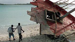 Boat wrecked by Hurrican Floyd in 1999