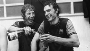 West Ham footballers Pat Holland and Trevor Brooking