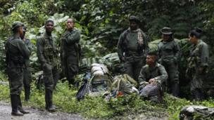 Farc rebels rest by the side of the road as they march towards a demobilisation zone in Cauca province, in Colombia, on 31 January 2017.