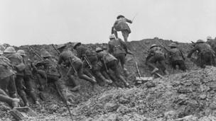 Staged scene from The Battle of the Somme film, 1916