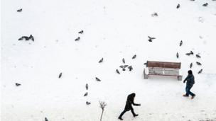 Pedestrians pass pigeons along a snow-covered street in Pristina