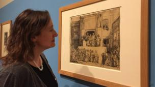Dr Francesca Vanke at the Norwich Castle Museum's Rembrandt exhibition