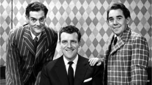 Corbett got his first big break doing stand-up on the children's TV show Crackerjack! in the mid-1950s, with presenters Michael Darbyshire (left) and Eamonn Andrews (centre)