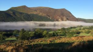 Mynydd Mawr in an early morning mist as viewed from the Snowdon Ranger path