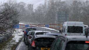 The snow gates on the A93 at Spittal of Glenshee in the Scottish Highlands are closed due to the weather