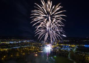Aerial fireworks over Elgin.