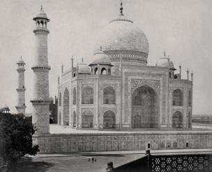 Agra,The Taj Mahal from the corner of the quadrangle, 1865,