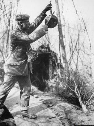 British solider warning of gas attack