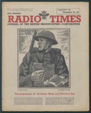 Front cover: Illustration of a soldier at Christmas