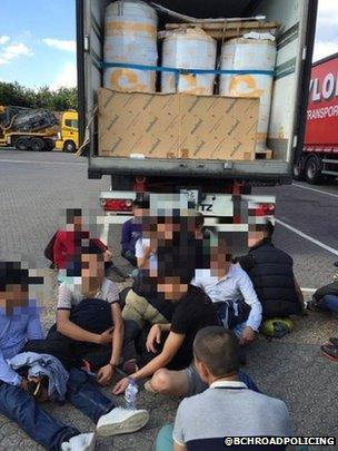 Immigrants and lorry