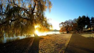 Kirsty Robinson snapped this shot of Roath Park Lake, Cardiff, on her commute to work