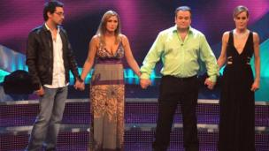 "(L-R) Colin Murray, Tricia Penrose, Shaun Williamson and Tara Palmer-Tomkinson up for eviction in the semi-final of ""Comic Relief Does Fame Academy"" in March 2007"