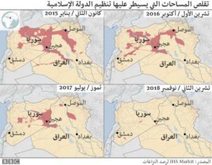 خارطة تبين تقلص المساحات التي يسيطر عليها تنظيم الدولة الإسلامية في العراق وسوريا