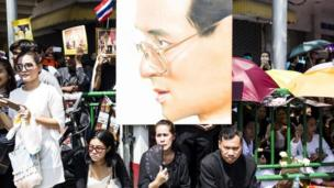 Crowds gather for the Thai king's funeral procession