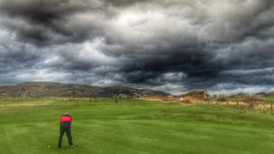 "Gareth Owen captured these ""crazy clouds"" on North Wales Golf Club's course"