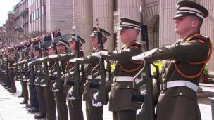 Members of the Irish defence forces have been taking part in the Easter Rising centenary commemorations